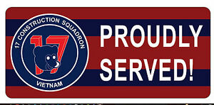 17 CONSTRUCTION SQUADRON VIETNAM PROUDLY SERVED LAMINATED STICKER 80X180MM