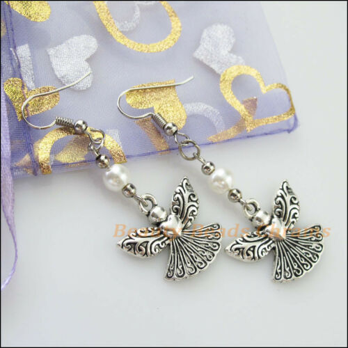 1Pair Winsome Silver Retro Angel White Glass Dangle Hook Earrings Women Jewelry