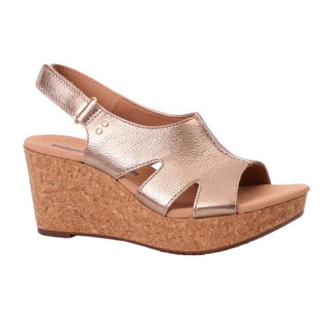 19d14053b69 Women s Clarks ANNADEL BARI 26133825 Gold Sticking Strap Wedge Sandal Shoes