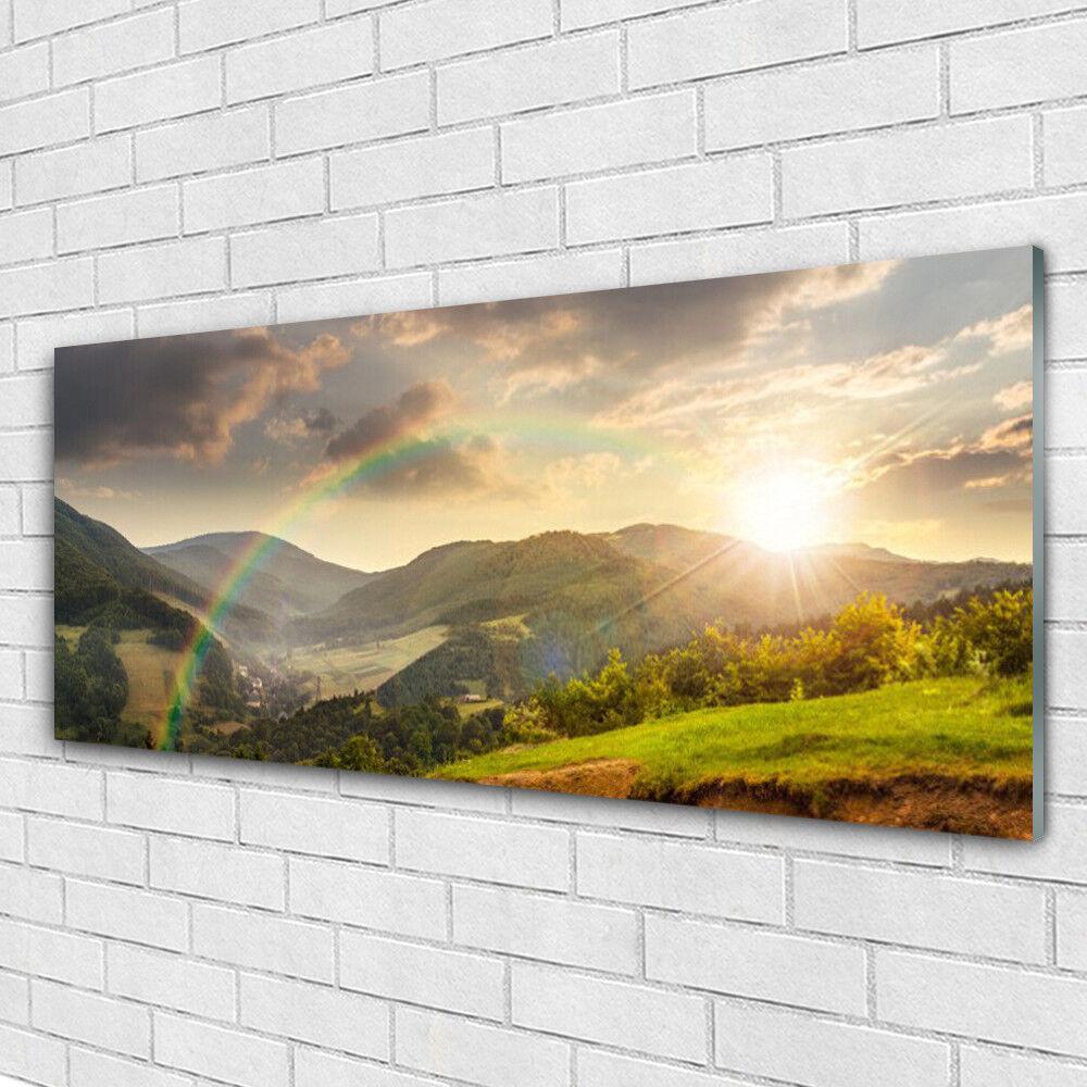 Tableau murale Impression sous verre 125x50 Paysage Montagnes Arc En Ciel