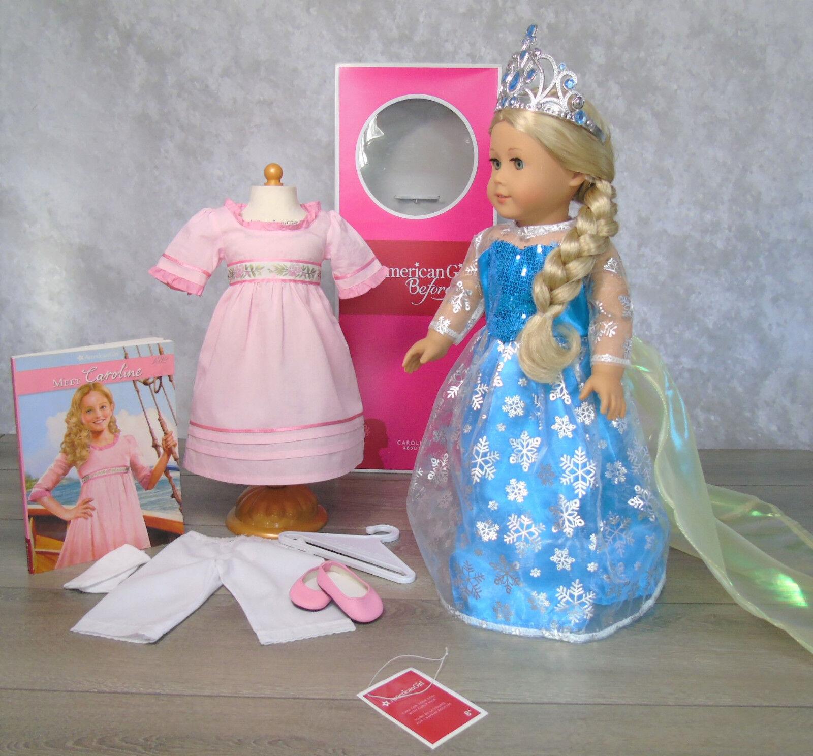 American Girl en Caja 18 Caroline MuñecaPrincesa Elsa Vestido  Conocer Libro