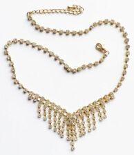 collier rétro cascade de cristaux facette diamant base couleur or * 3313