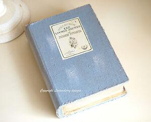 Shabby-Vintage-Style-Trinket-Blue-Book-Box-Photo-Recipe-Storage-Keepsake-Box