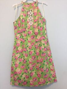 Lilly Pulitzer Pink Rhino Shift Halter Dress Embroidered Lace Size 0