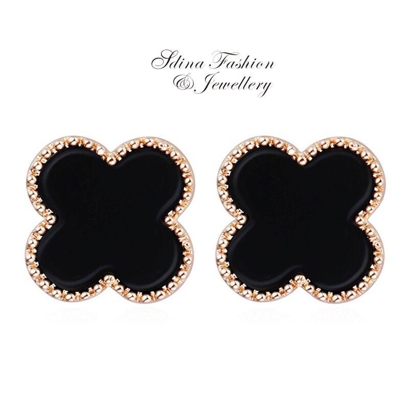 18K Rose Gold Plated Diamond Oval Shaped Round Pattern Black Hoop Earrings