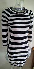 CLEMENTS RIBEIRO WOMENS CASHMERE WOOL BLACK STRIPED JUMPER DRESS SIZE UK 12