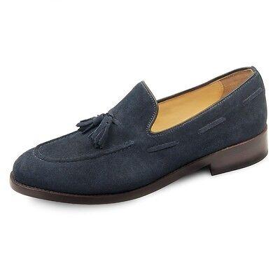Mens Tasselled Loafer Shoe Blue Suede Prestige Samuel Windsor