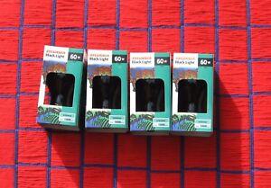BOX of 4 ~ BLACK LIGHT BULB 60 WATT A19 blacklight blue 60A19/BLB Sylvania 60w