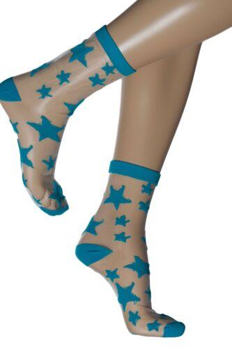 Gipsy Transparent Sheer Star Ankle Sock 1712