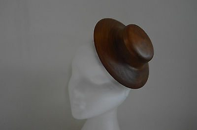 Larger wooden hat block/ Fascinator/ Percher with pill box top 187 mm