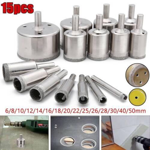 15Pcs Diamond Drill Bit Holesaw Set Holes Saw Bits Cutter Glass Marble Ceramic
