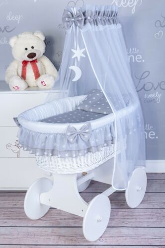 EXCLUSIVE WICKER MOSES BASKET WITH BEDDING SET AND MOVING WHEELS !!!-7 COLOURS