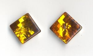10-ORANGE-AMBER-SPARKLY-SQUARE-BUTTONS-15mm-Sewing-Crafts-Costume-VINTAGE