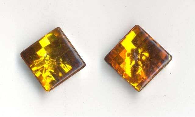 10 ORANGE AMBER SPARKLY SQUARE  BUTTONS 15mm Sewing Crafts Costume VINTAGE