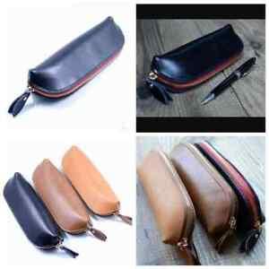 Leather-Vintage-Zipper-Pencil-Case-Cosmetic-Pouch-Retro-Brush-Pen-Bag