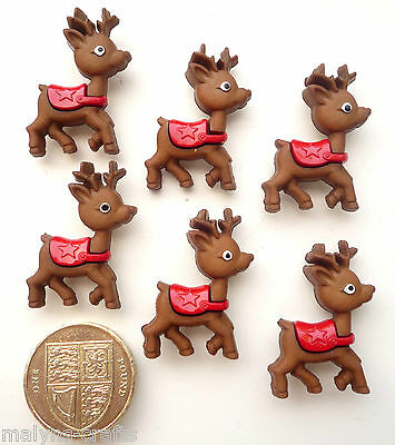 BABY REINDEER Craft Buttons Santa Animals Christmas Rudolph Xmas Winter Novelty