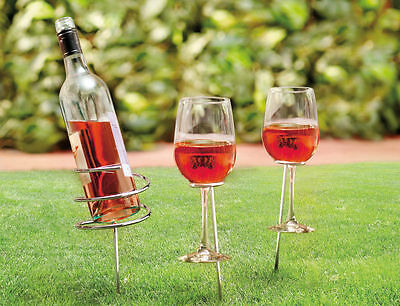 Wein Steck Flaschenhalter und 2 Glas Halter Garten Camping Outdoor Picknick Set