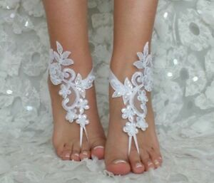 d6667be2977 Beach Wedding Foot Chain Lace Barefoot Sandals Beach Anklets Jewelry ...
