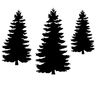 pine tree silhouette unmounted rubber stamp 3 sizes you. Black Bedroom Furniture Sets. Home Design Ideas