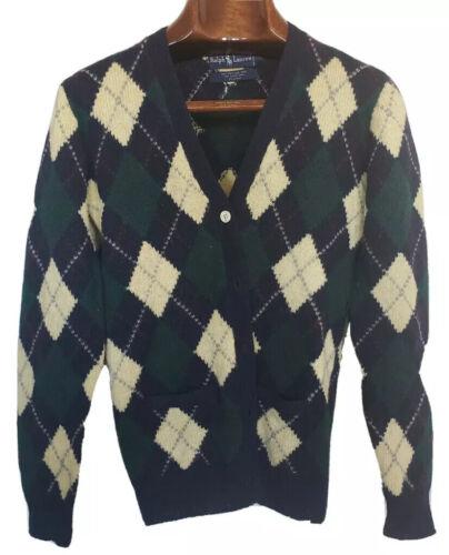 Vtg Ralph Lauren Polo Argyle Cardigan Sweater Shet