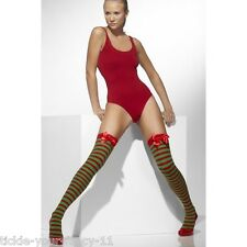 Womens Ladies Sexy Elf Thigh High Red Green Stripe Stocking with Bow Fancy Dress