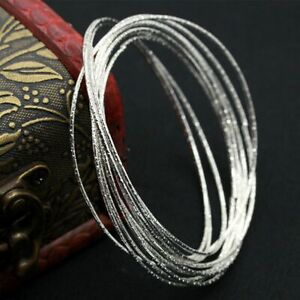 Simple-Women-50Pcs-Fashion-Silver-Ultra-Thin-Hoop-Bracelet-Cuff-Bangle-Wristband