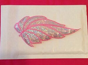 Baby pink silver hologram sequin motif patch lace wedding dance