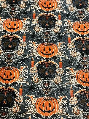 Halloween Spooky Gothic Skeleton Ghost w// Candelabra Bats Damask Fabric BTHY