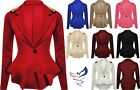 Womens SPIKE - STUDDED Jacket Ladies Peplum Frill Blazer Tail Back Stud Top 8-16