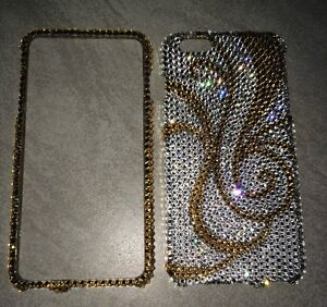 Crystal-Gold-Bling-Case-Cover-For-IPHONE-7-8-PLUS-Made-W-SWAROVSKI-Elements