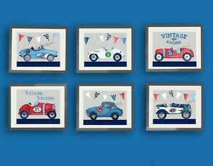 Image Is Loading Vintage Race Car Nursery Art Prints Racing Bedroom