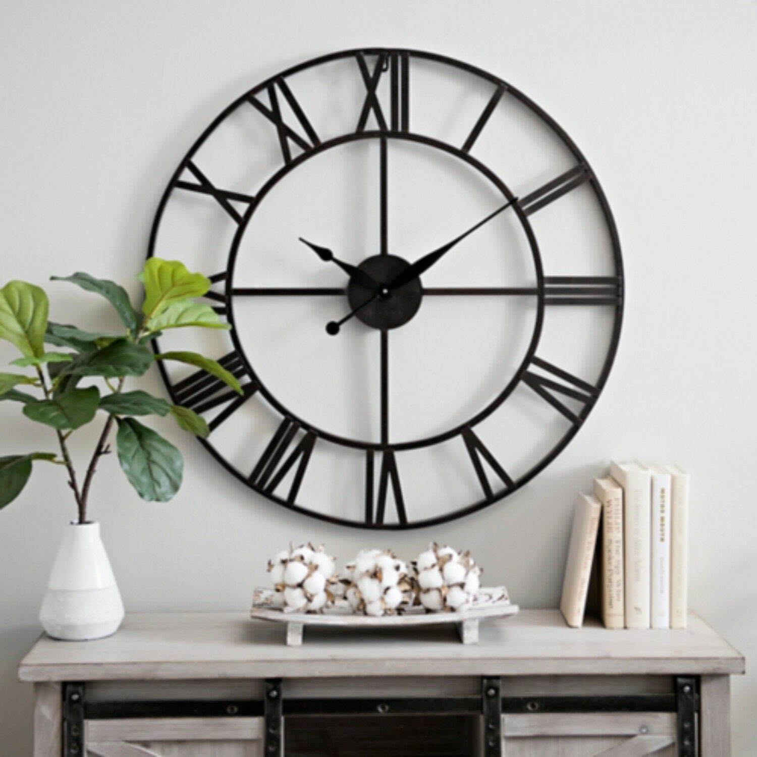 Large 78cm Traditional Skeleton Vintage Style Roman Numerals Wall