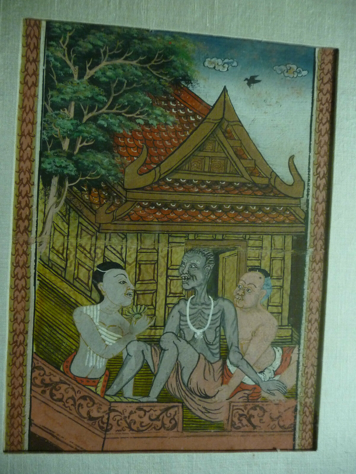 Unique Old Original Painting Group of 3 Seated People 3 Stages of Life (India?) 3