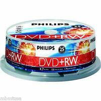 25 Lot Of Philips 4x 4.7gb Dvd+rw Rewritable Blank Dvd