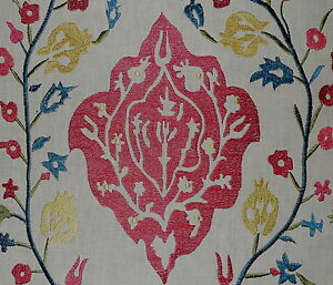 VAUGHAN Izmir Floral Embroidery Red Blue Natural Linen New Pair Remnants