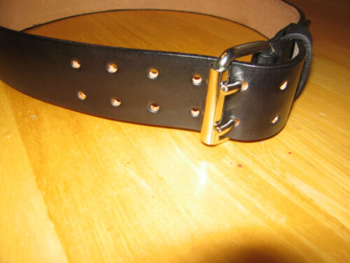 CUSTOM MADE LEATHER  BELT 1 3//4/'/' WIDE DOUBLE PRONG BUCKLE BLACK WITH YOUR NAME