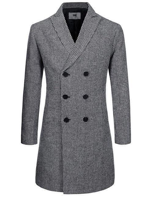 (NKDC705) TheLees  Herren Double Breasted Peaked Lapel Wool Blend Long Coat