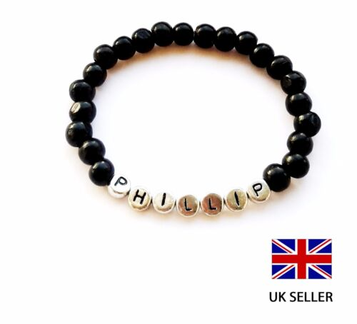 PARTY BAG GIFT COLOR ANY NAME PERSONALISED NEW BABY BLACK WOODEN BRACELET