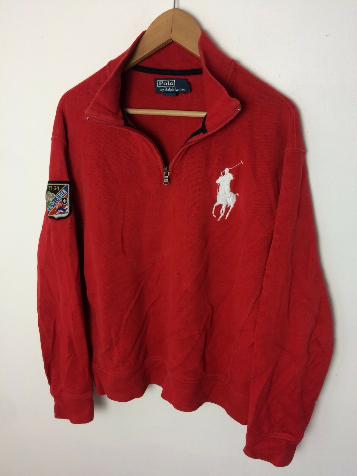 Polo Ralph Lauren 1/4 Zip ROT Big Pony Ski Patch Pull Over Sweater Größe Large