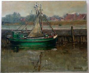 Ancien-tableau-Impressionniste-Bateau-Chalutier-au-Port-en-Bretagne-Huile-signee