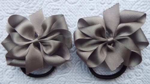 "2 GREY 3/"" BOWS GIRLS SCHOOL UNIFORM GROSGRAIN BERISFORDS RIBBON HAIR BOBBLES"