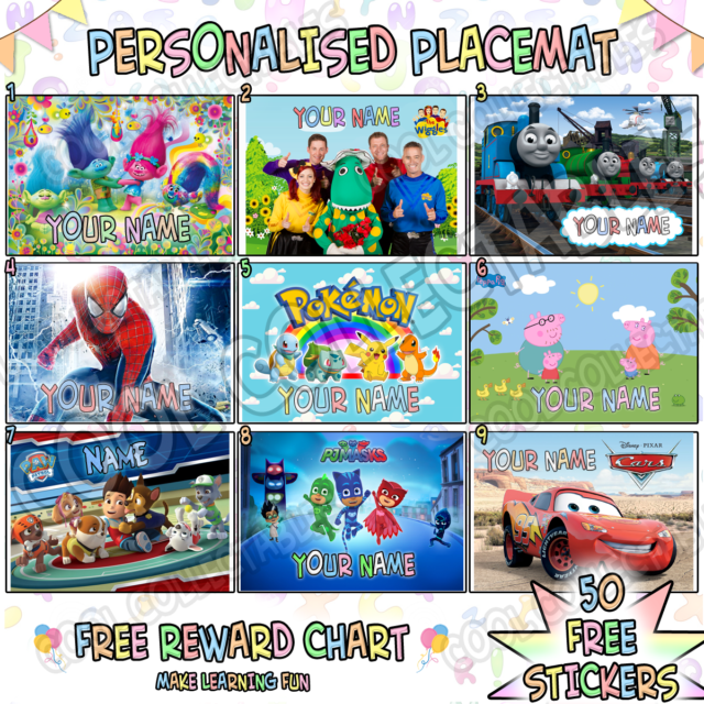 A4 Kids Personalised Placemat ( A4 Photo Laminate ) Great Stocking Filler Gift 1