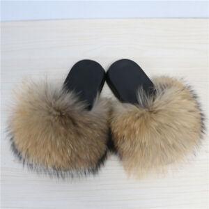 Fluffy Real Fur Natural Tan Slides Size
