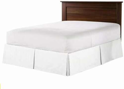 Luxurious Look Box Pleated Bed Skirt Tailored Microfiber White Drop 6-30/""
