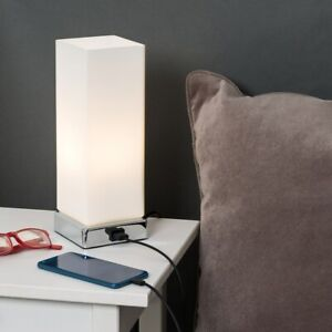 Chrome Led Touch Dimmer Table Lamp With Usb Charging Port