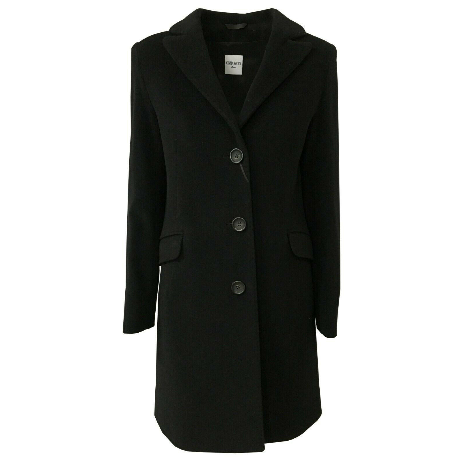 Dettagli su CINZIA ROCCA cappotto donna nero 70% lana 20% poliammide 10% cachemire art 45D3