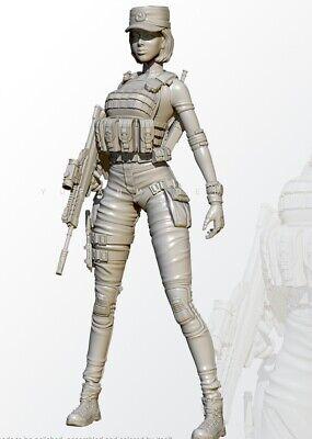 1//24 Resin its Female Soldier sitting on torpedo Model Figure G Unpainted *
