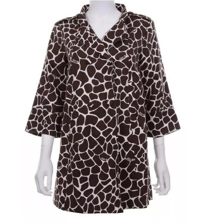 Lilly Pulitzer Size 10 100% Cotton Animal Print 3 4 Sleeve Swing Coat Brown