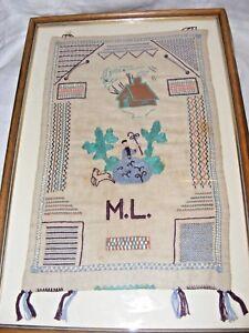 Ancien-Brode-a-la-Main-Echantillonneur-Broderie-Image-Bo-Peep-Maison-Initiales