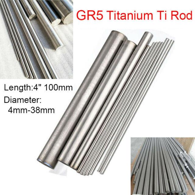 """4"""" 100mm TC4 GR5 Titanium Round Rod Ti Alloy Bar Metal Shaft 4mm 5 8 10 20 38mm"""